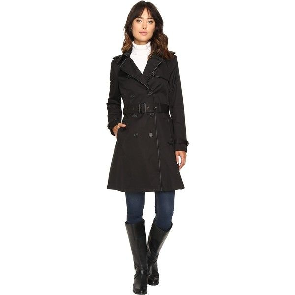 LAUREN Ralph Lauren Double-Breasted Trench w/Faux Leather Trim (Black)... ($99) ❤ liked on Polyvore featuring outerwear, coats, double breasted trench coat, lined trench coat, cotton coat, double breasted belted coat and lauren ralph lauren coats