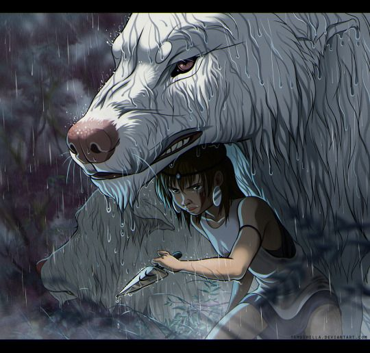 Princess Mononoke in Rain by TamberElla