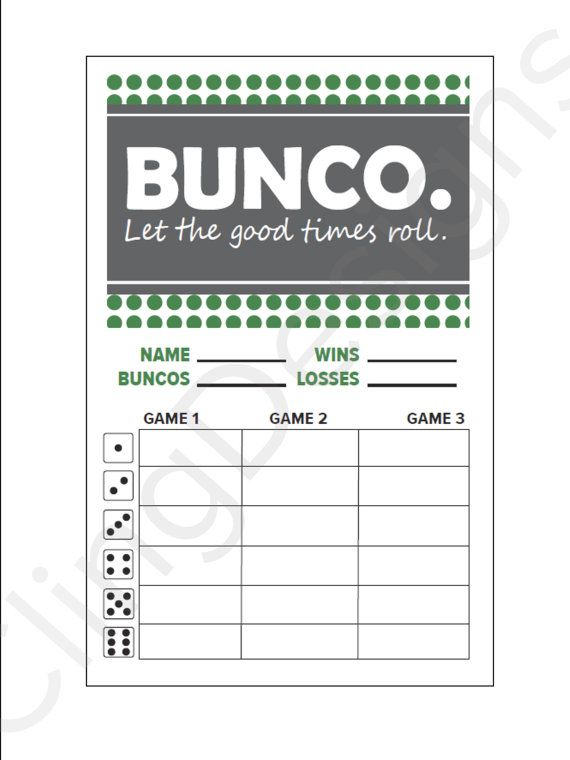 Bunco Score Card Printable Instant Download PDF by ClingDesigns - football score sheet template