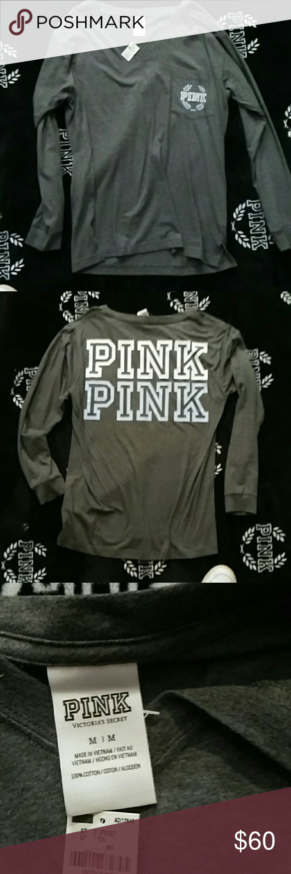 Long sleeve PINK tee Size medium NWT never worn. Grey  color  says PINK on the back k in white and baby blue v neck with pocket PINK Victoria's Secret Tops Tees - Long Sleeve
