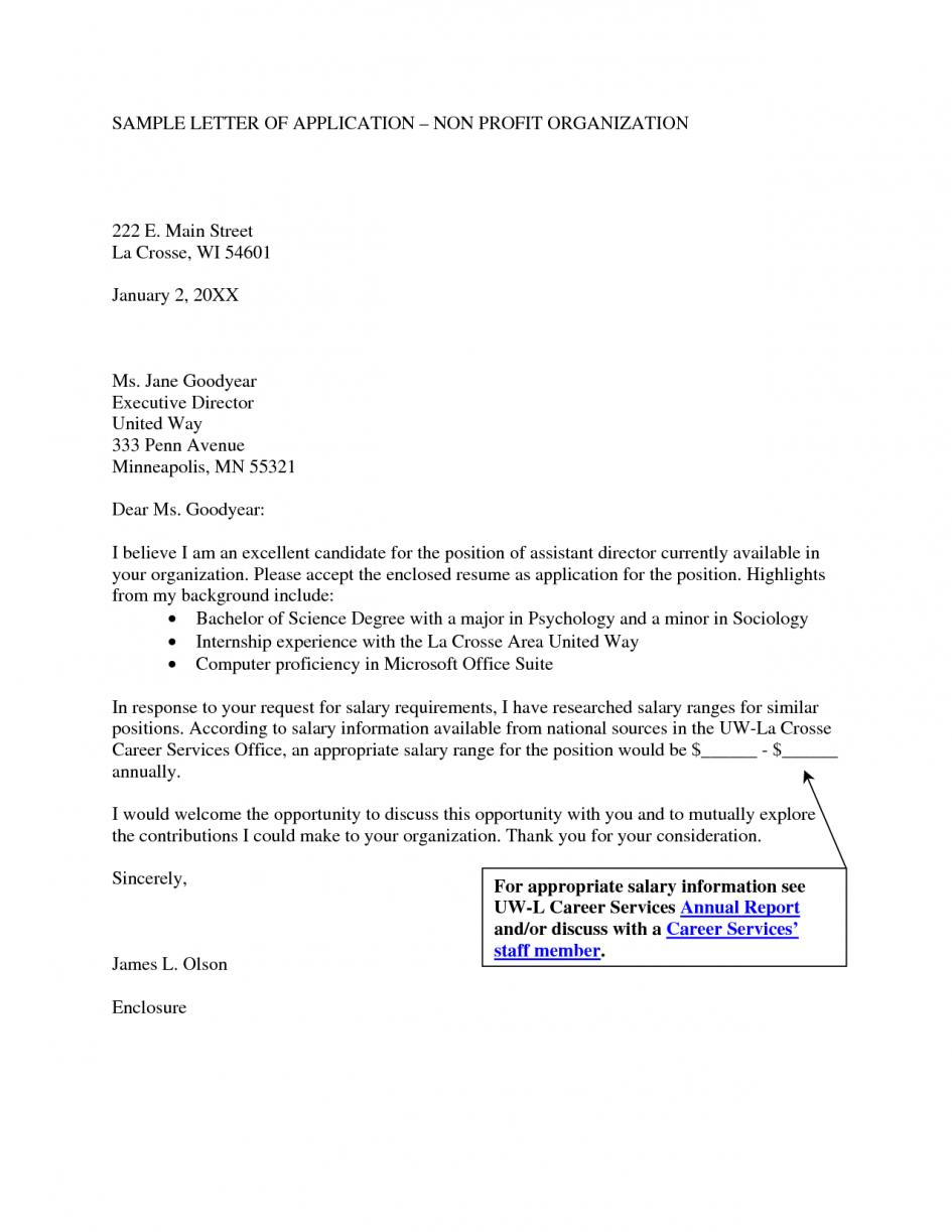 Sle Cover Letter For Non Profit Organization