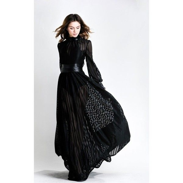 Black Long Sleeves Gown (250 AED) via Polyvore featuring dresses ...