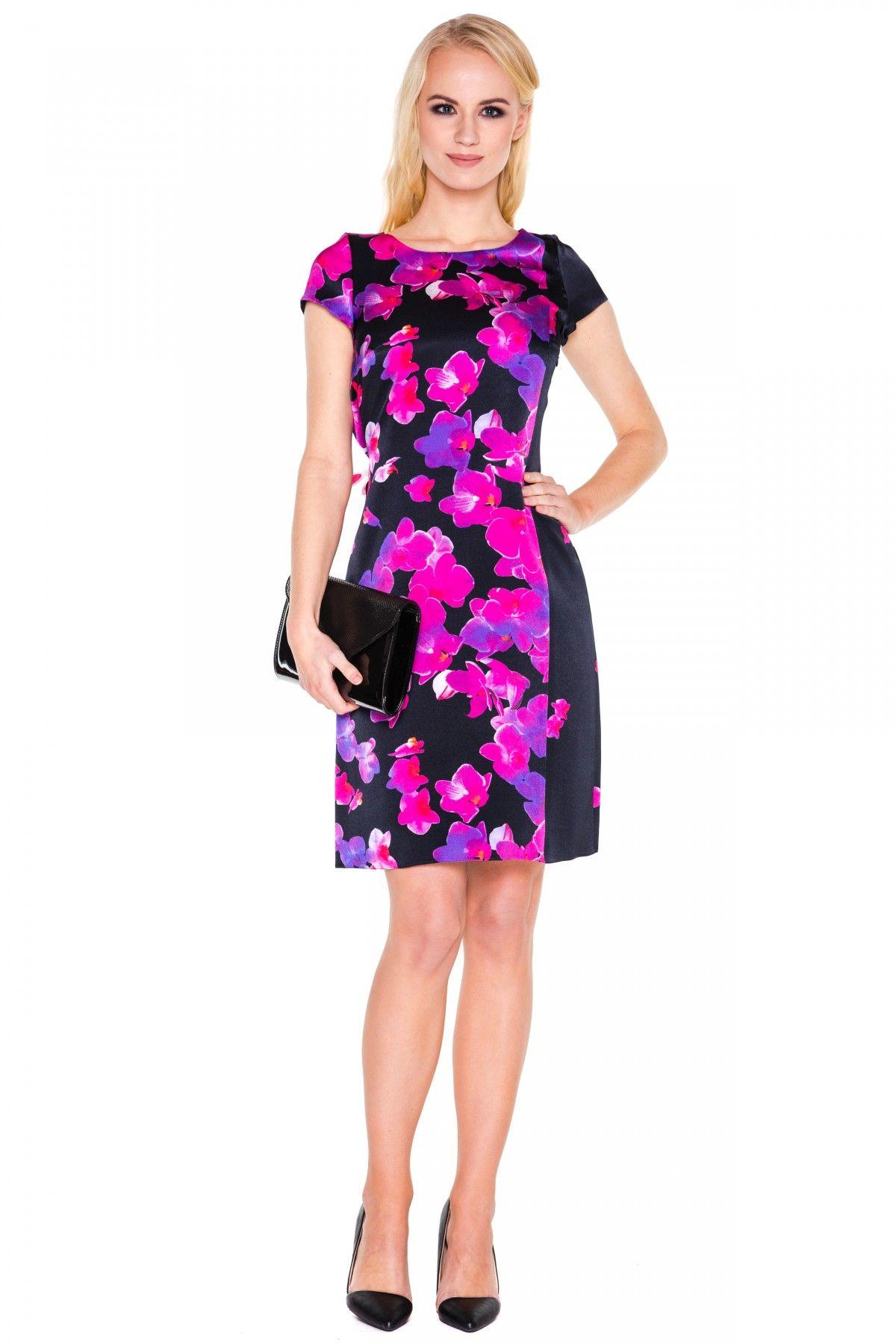 19f1b1a8278395 Czarna sukienka w kwiaty - L'ame de Femme | Flower Power - LAME DE ...