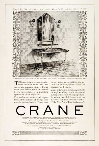Photo of 1925 Crane Bathroom Fixtures original vintage advertisement. Features a Neumar L…