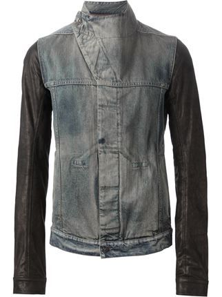 681c772399a3 Rick Owens Drkshdw Leather Sleeve Denim Jacket - Rewind - Farfetch.com