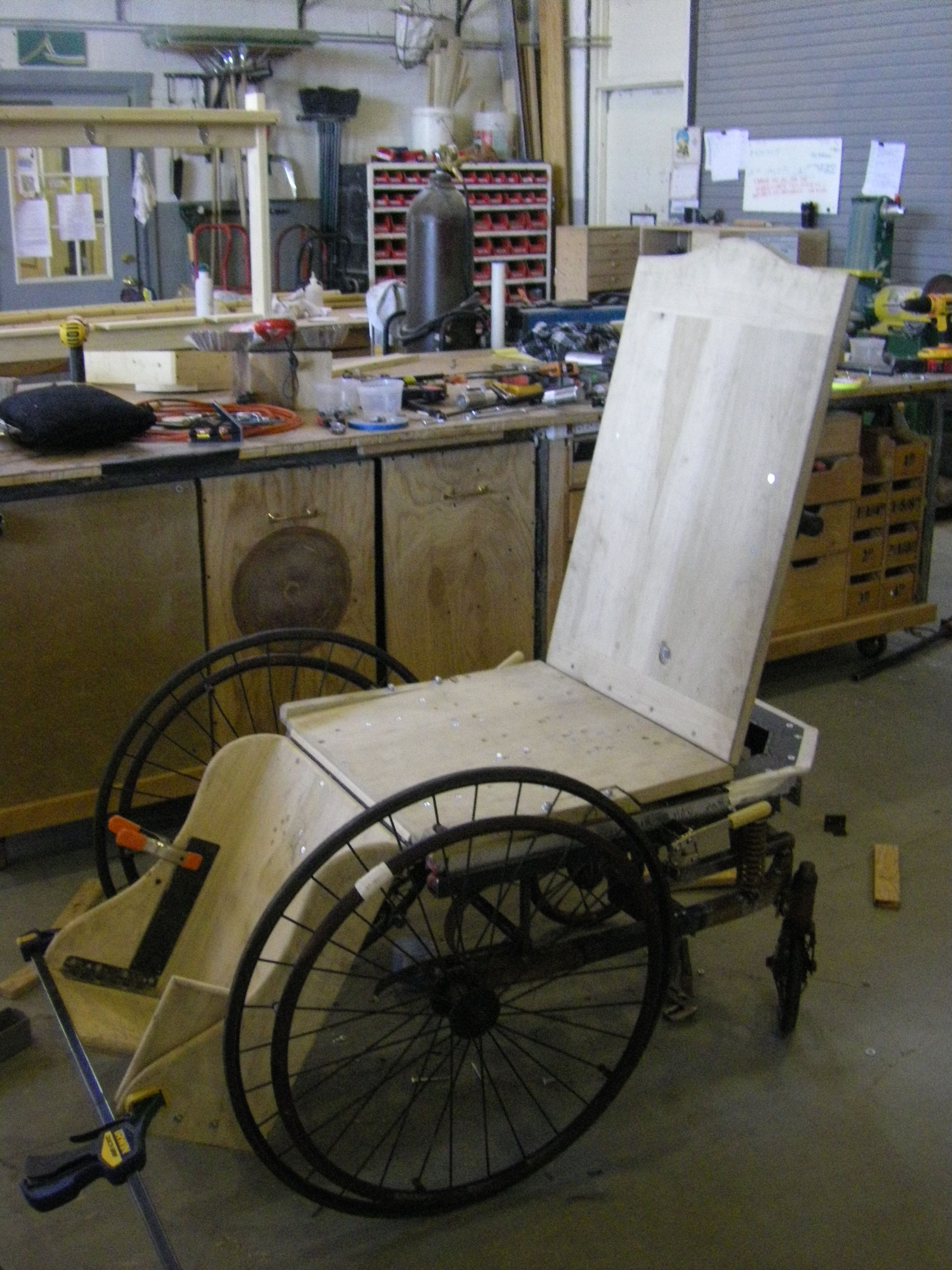 A rickety old fashioned wheelchair, but this is no ...