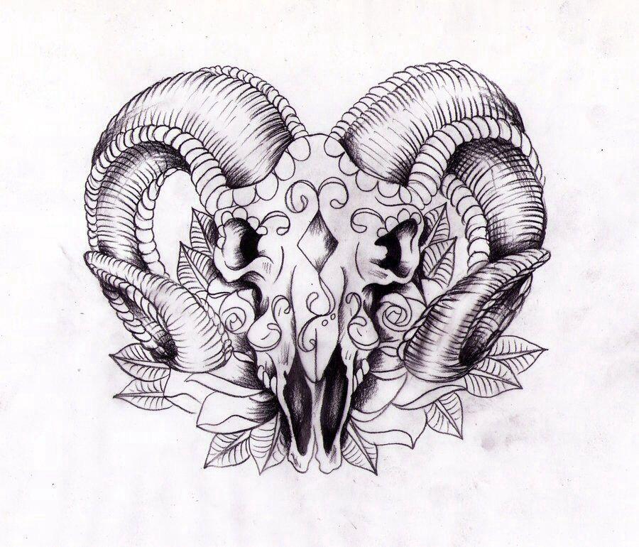 Ram Skull Aries Tattoo Ram Tattoo Symbolic Tattoos