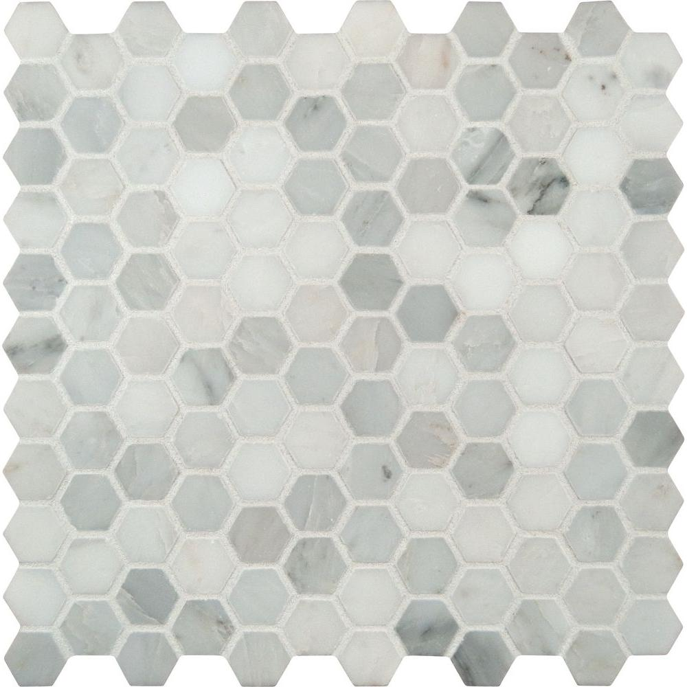 Msi Greecian White Mini Hexagon 11 61 In X 11 81 In X 10 Mm Polished Marble Mesh Mounted Mosaic Tile 0 95 Sq Ft Gre 1hexp Mosaic Flooring Hexagon Mosaic Tile Hexagonal Mosaic