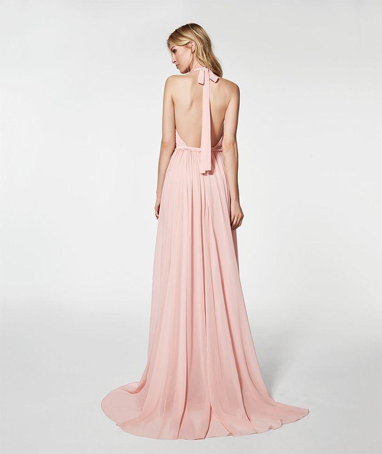 Photo of long pale pink dress 62033 - GRAMOE sleeveless HALTER ...