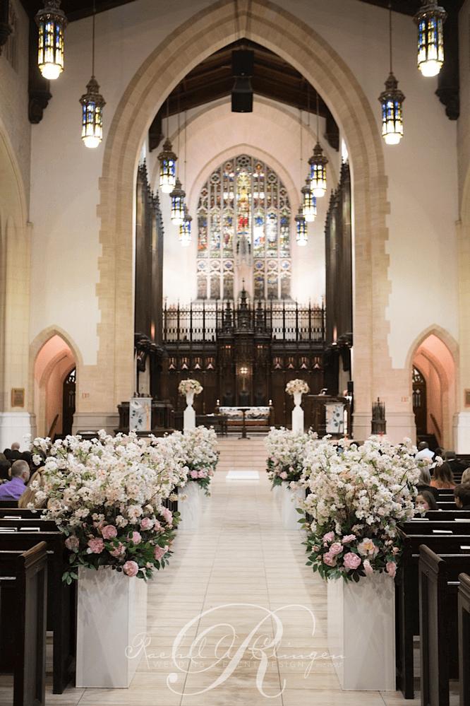 Lush, luxurious aisle decor Toronto church wedding ceremony ...