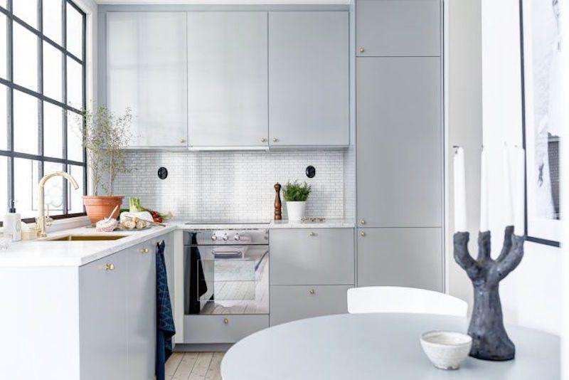 Compact Quarters Apartment Kitchen Grey Cabinets Gold Fixtures