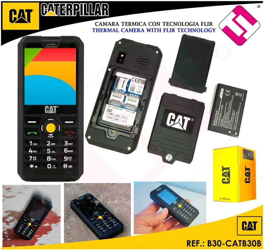 59bed396 TELEFONO CATERPILLAR LIBRE CAT B30 2G 3G 128MB ROM 64MB RAM 2MPX FLASH  1000MAH