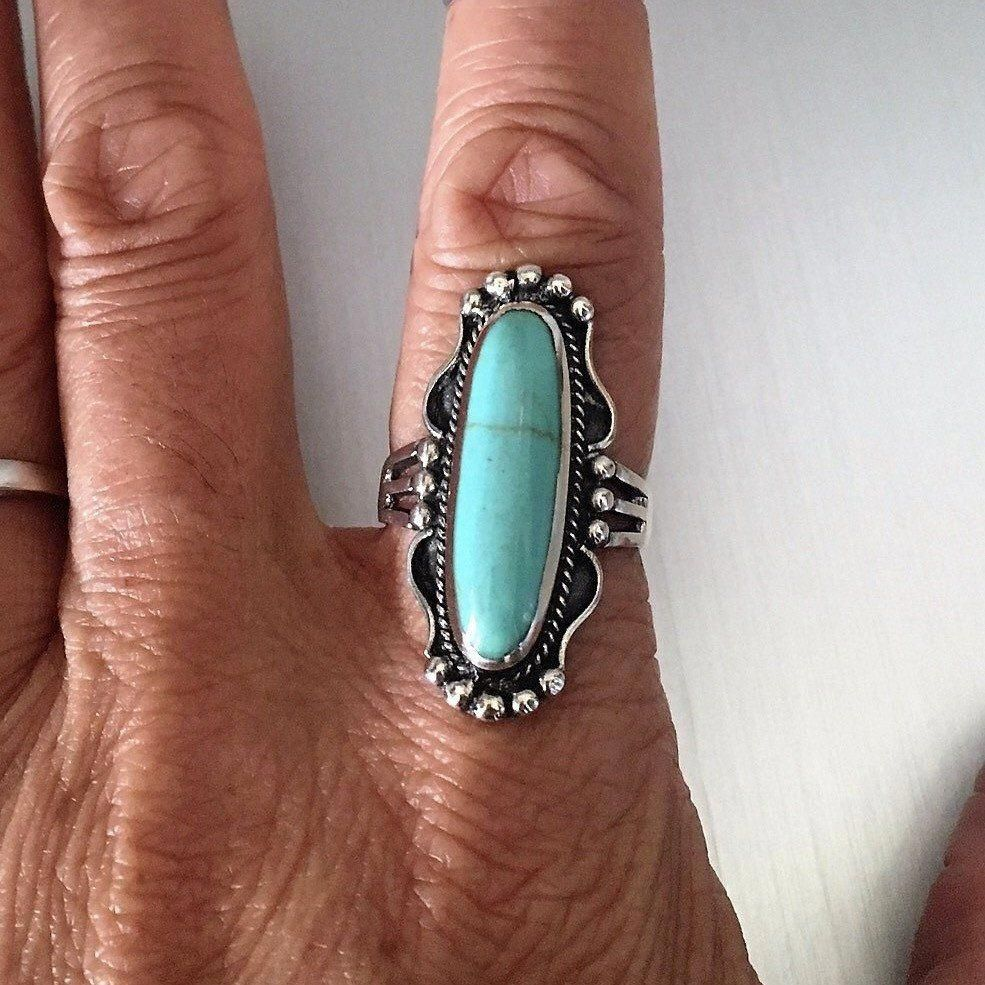 Sterling Silver Synthetic Turquoise Statement Ring