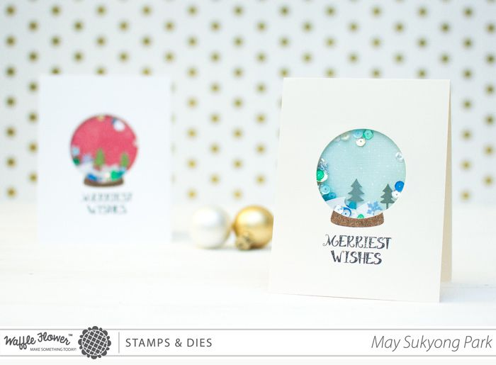 Waffle Flower Snow Globe Shaker Cards ม ร ปภาพ