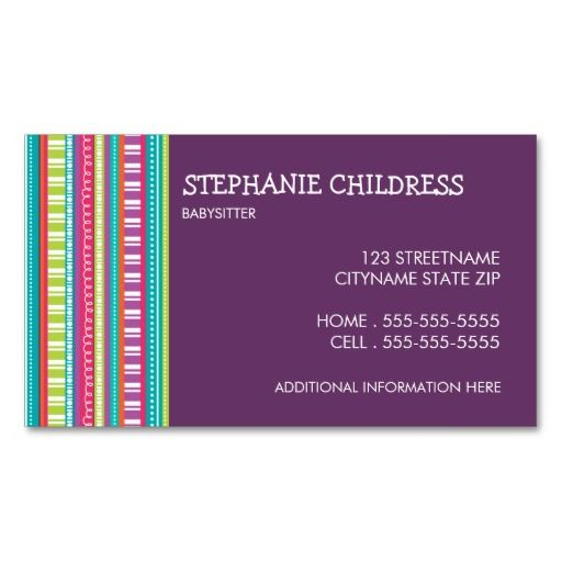 Colorful Stripes Babysitting Business Card Colorful Business Card Design Striped Business Card Colorful Business Card