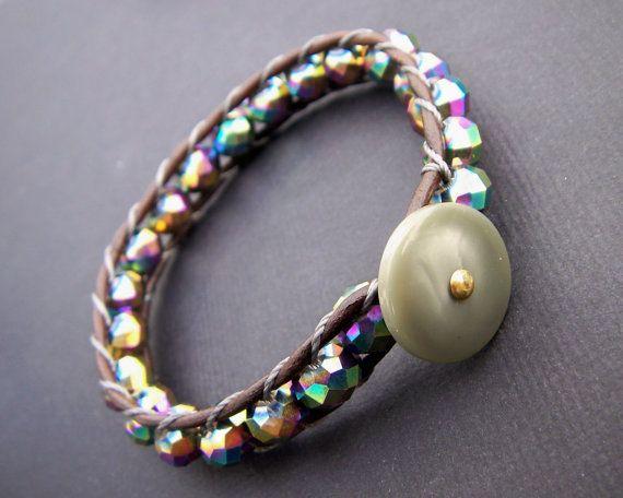 Peacock KARMA Bracelet in Crystal Quartz by LizzyBdesigns on Etsy, $55.00