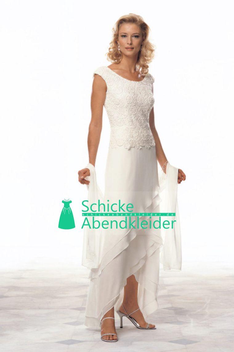 2016 weiße Mutter der Braut-Kleider Scoop eine Linie Chiffon ...