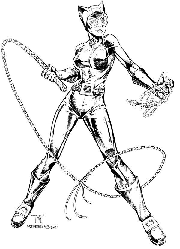 catwoman - traditional inks on behance | comic art: catwoman ... - Batman Catwoman Coloring Pages