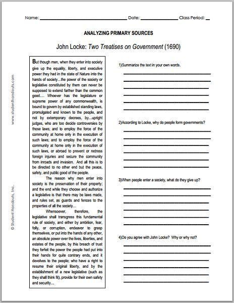 john locke enlightenment two treatises on government primary  john locke enlightenment two treatises on government primary source worksheet for grades 9
