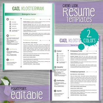 Powerpoint Resume Teacher Resume Template Clean Look  2 Colors  Editable With