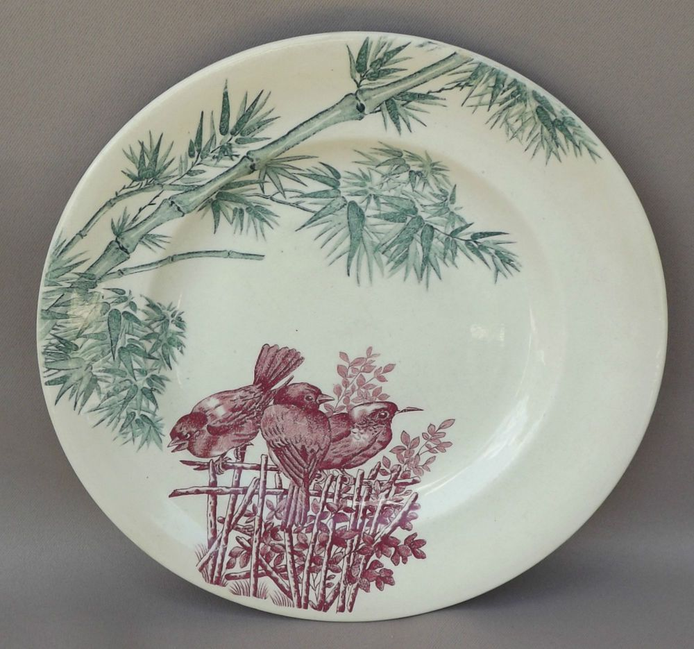 French Antique Longwy Majolica Plate Birds : antique french plates - Pezcame.Com