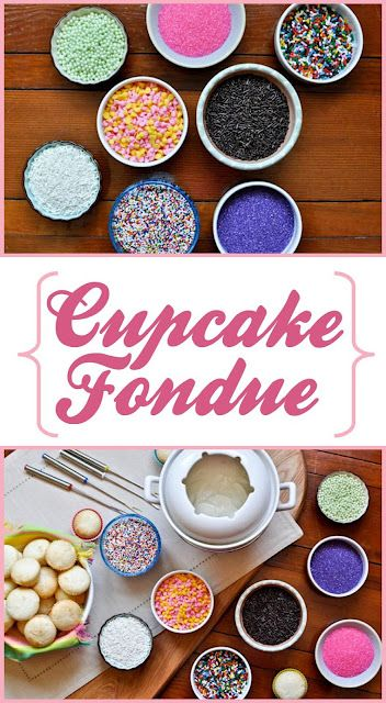 What a great idea- dip balls of cake in icing fondue, and add toppings!