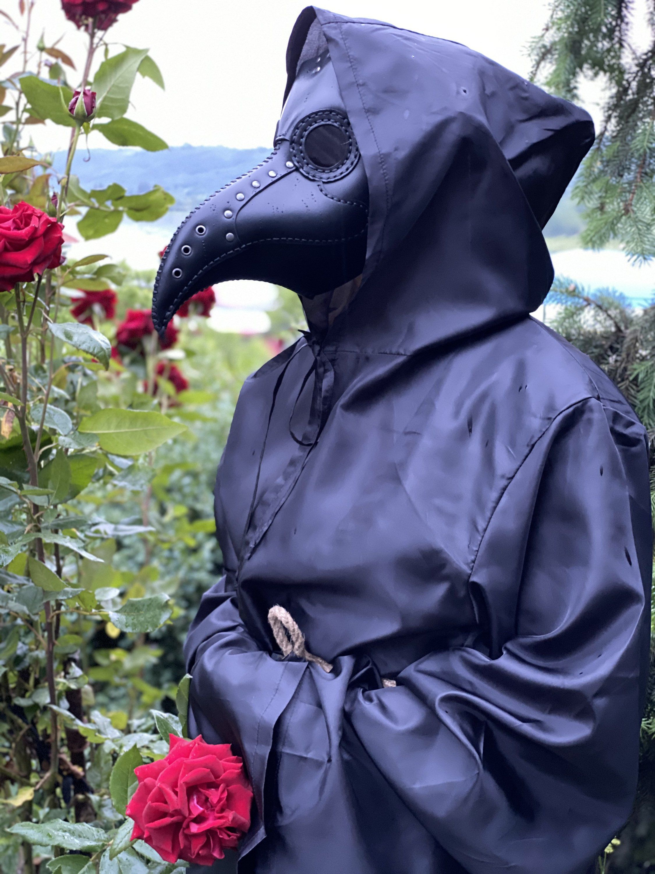 Plague Doctor Mask Plague Dr Mask in Black Leather Doctor ...