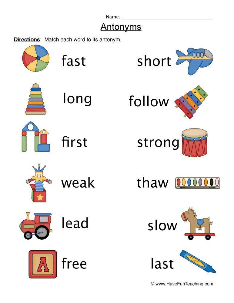 Antonyms Matching Pictures Worksheet English Worksheets For Kids Antonyms Have Fun Teaching English worksheet for ukg opposite words