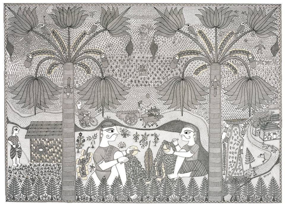 Pushpa Kumari constantly seeks out new subjects, experimenting with new ways to stretch the boundaries of Madhubani art. She uses her work and the stylistic devices of Madhubani painting to sharply focus and at times even subtly challenge the subjects she chooses. In RV 54. http://rawvision.com/articles/pushpa-kumari-transforming-tradition