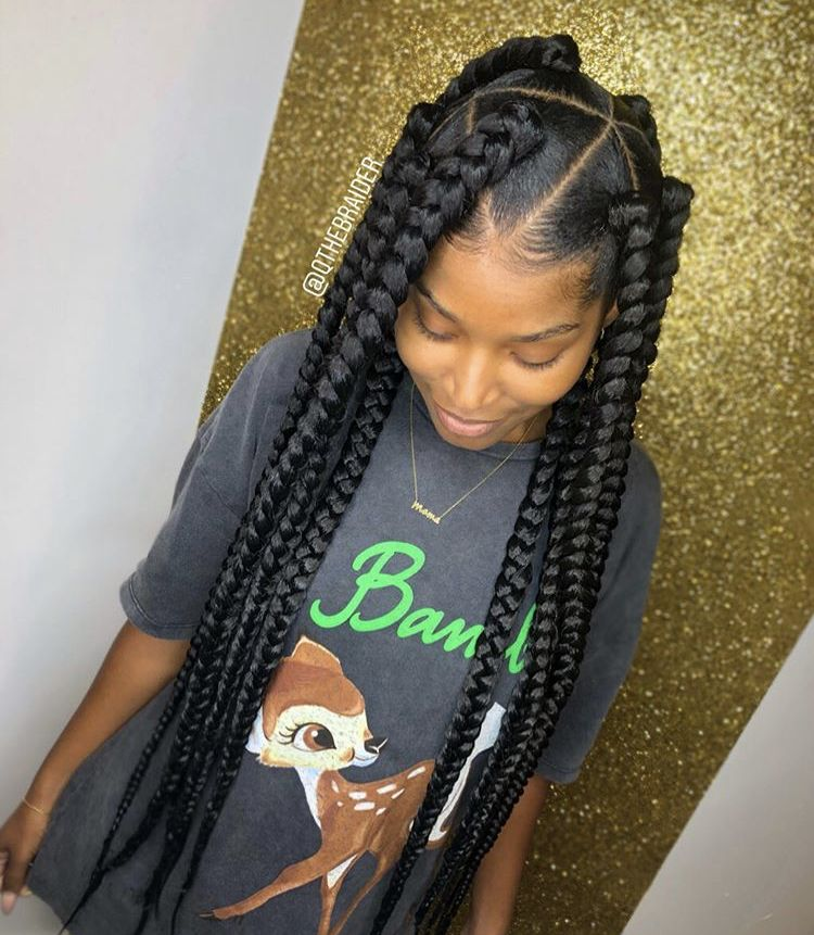 Jumbo Braids Box Braids Styling Box Braids Hairstyles Girls Hairstyles Braids