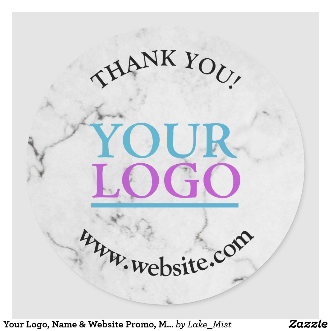 Your Logo, Name & Website Promo, Marble Classic Round