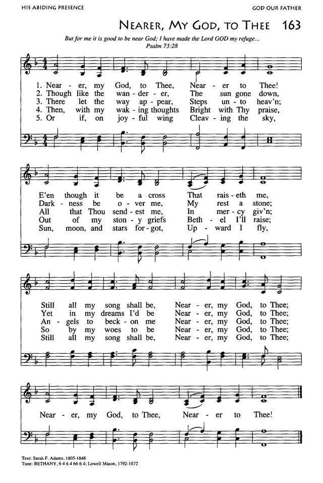 Lyric nearer my god to thee lyrics : Nearer, My God, to Thee. from African American Heritage Hymnal ...