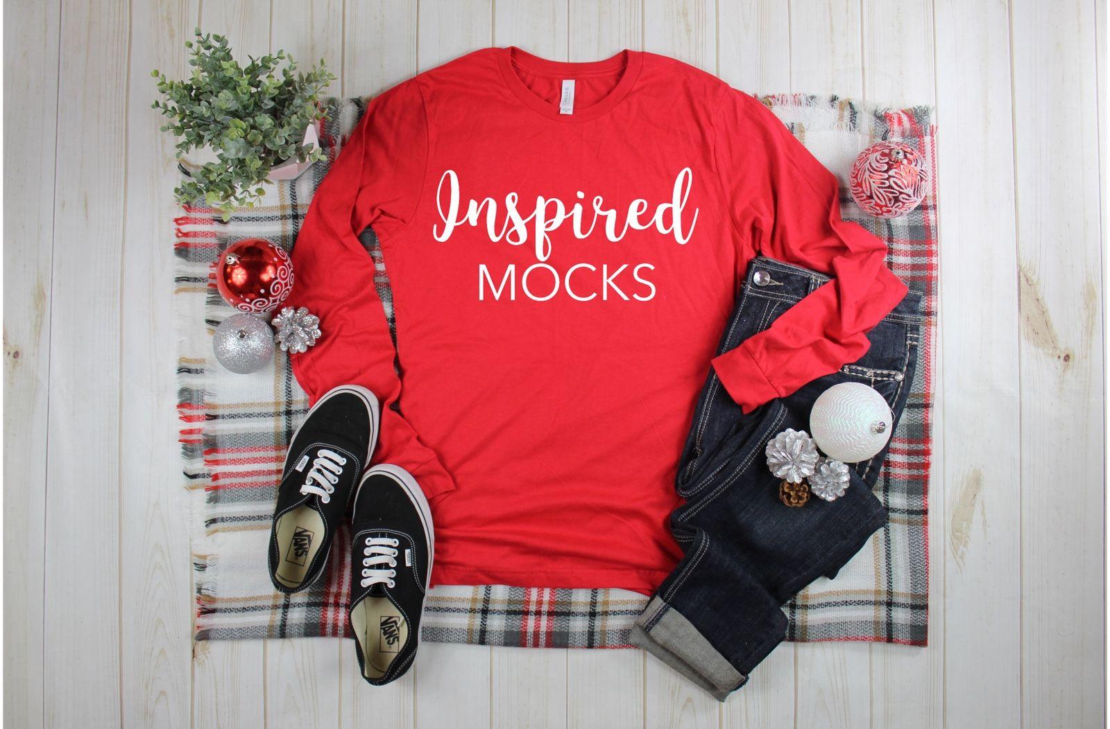 Bella Canvas 3501 Red T Shirt Mockup Shirt Mockup Flat Lay