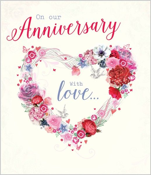 Card Ranges » 7389 » Our Anniversary - Confetti Love Heart - free printable anniversary cards