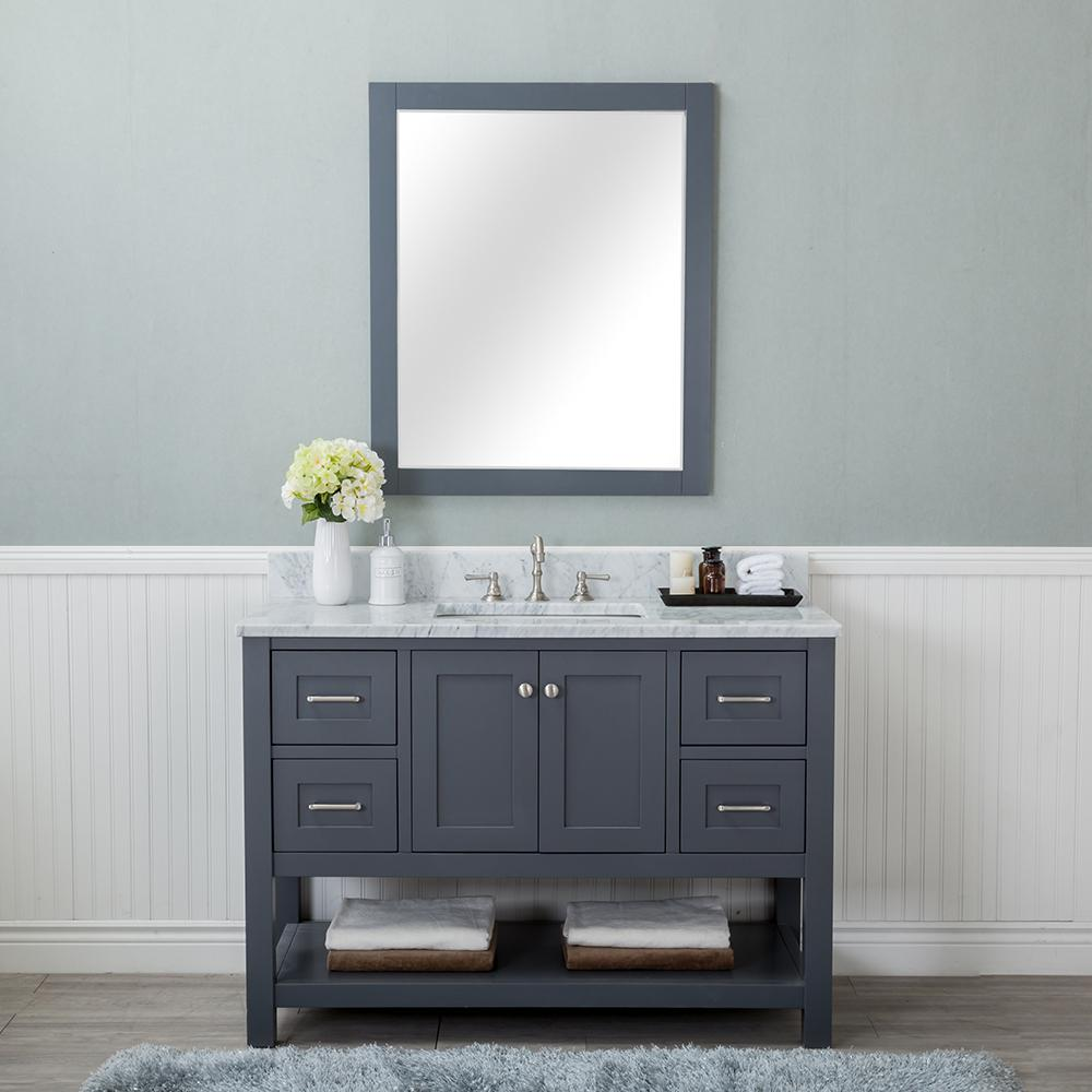Alya Bath Wilmington 48 In W X 34 2 In H X 22 In D Bath Vanity In Gray With Marble Vanity Top In White With White Basin He 102 48 G Cwmt The Home Depot In [ 1000 x 1000 Pixel ]