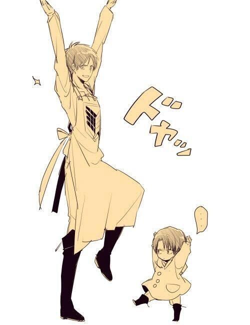 Little Levi and Eren, quite the contrast to the usual little Eren and Levi  pics. Attack on Titan- Eren, Levi