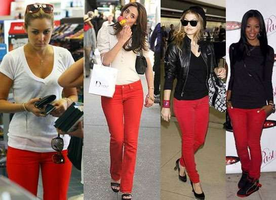 77f3a01727d6f Just bought red skinny jeans.... Celebs Show Us How to Wear Red Jeans With  Confidence