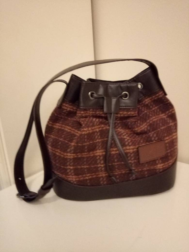 Gift For Her Winter Chocolate Brown Plaid Bucket Women S Bag With Dark Brown Vegan Leather Strap By Rivernortheastern On Etsy Canta