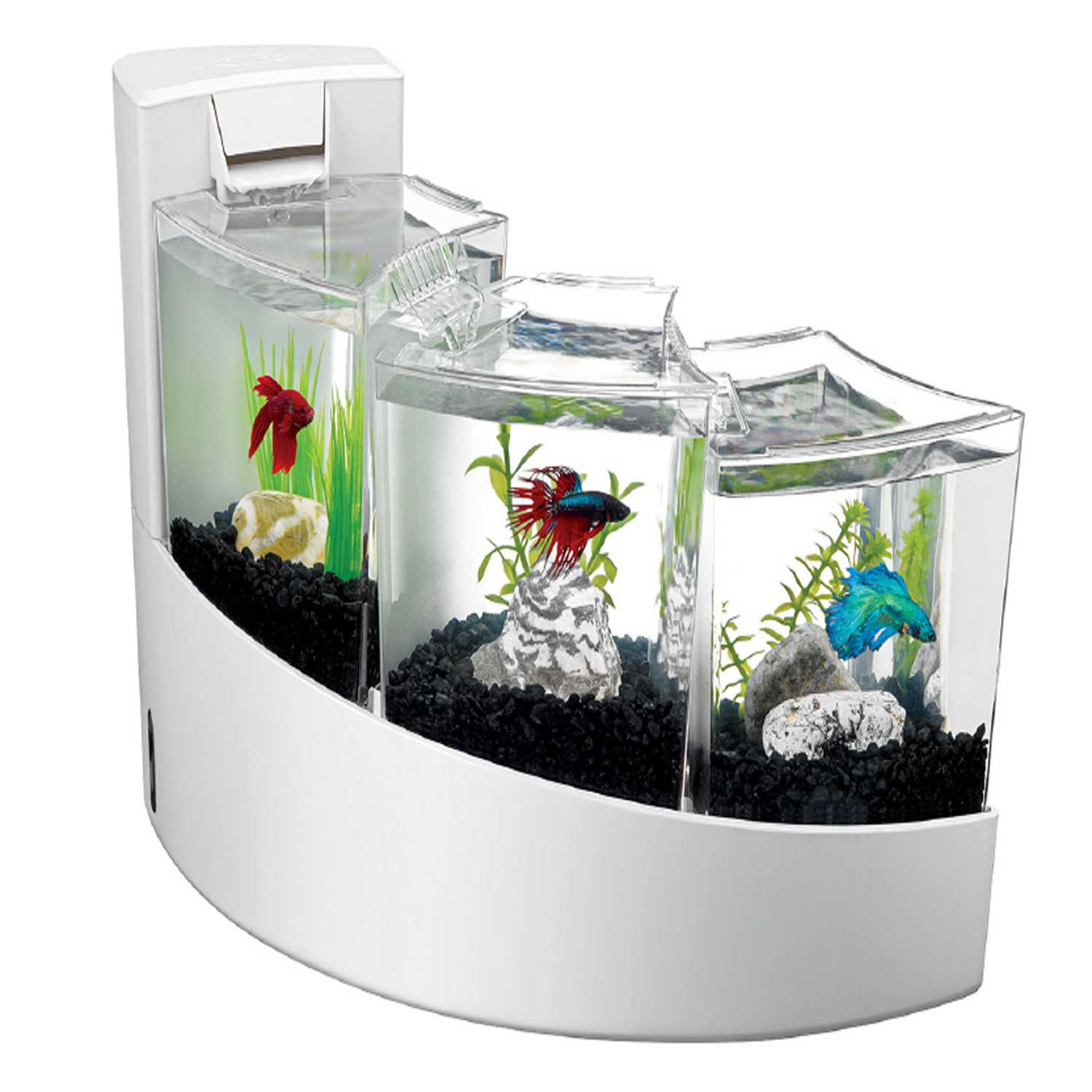 Aqueon betta falls aquarium kit in white fish aquariums for Aqueon fish tank