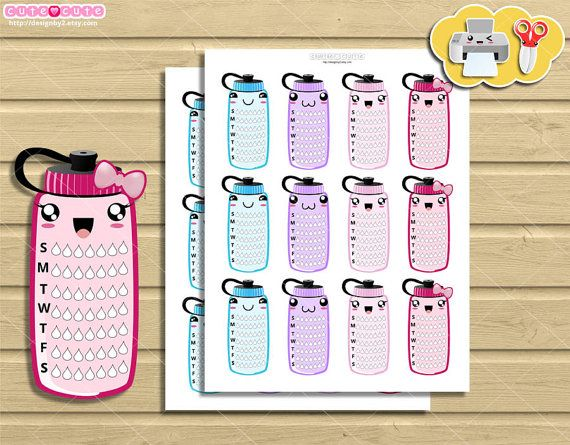 Weekly Hydrate Tracker kawaii Planner Stickers bottle, Side bar Printable Planner Stickers for Erin condren or Happy planner