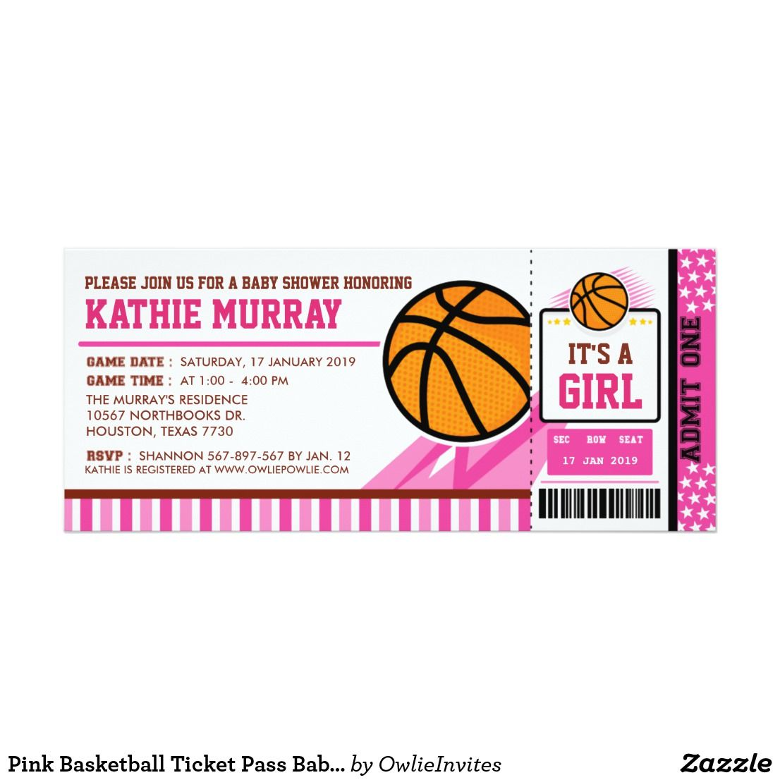Basketball Ticket Birthday Party Invitations Sweet Party In 2019