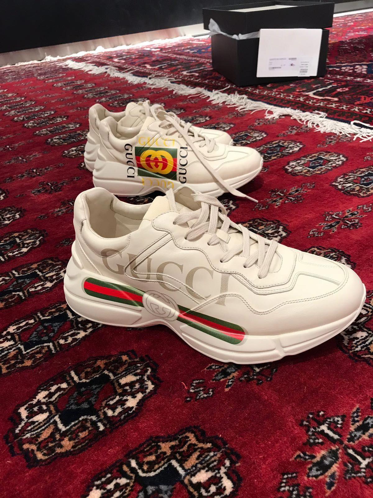 ff6330f6f4 Rhyton Gucci logo leather sneaker € 750 vintage 1980s print ...