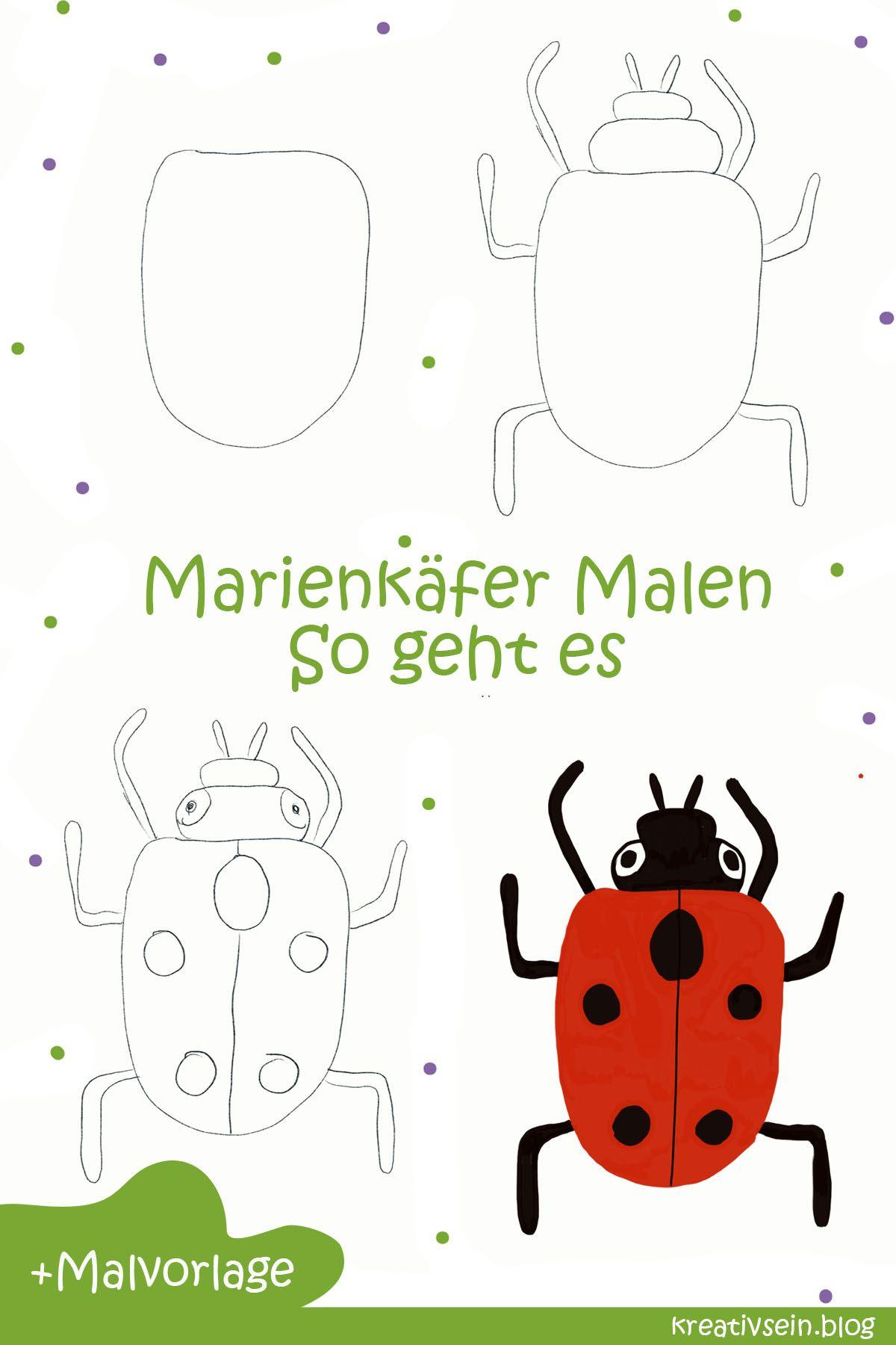 Marienkafer Malen Und Ausmalen Fur Gluckskinder Kreativsein Blog Ausmalen Malen Kostenlose Ausmalbilder