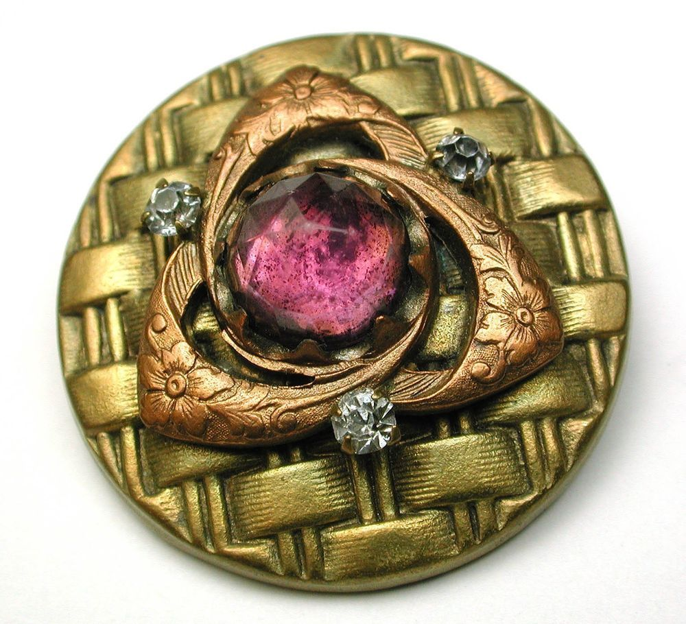 Antique Gay 90s Button Copper Floral over Brass w/ Amethyst Glass Jewel 1  7/16