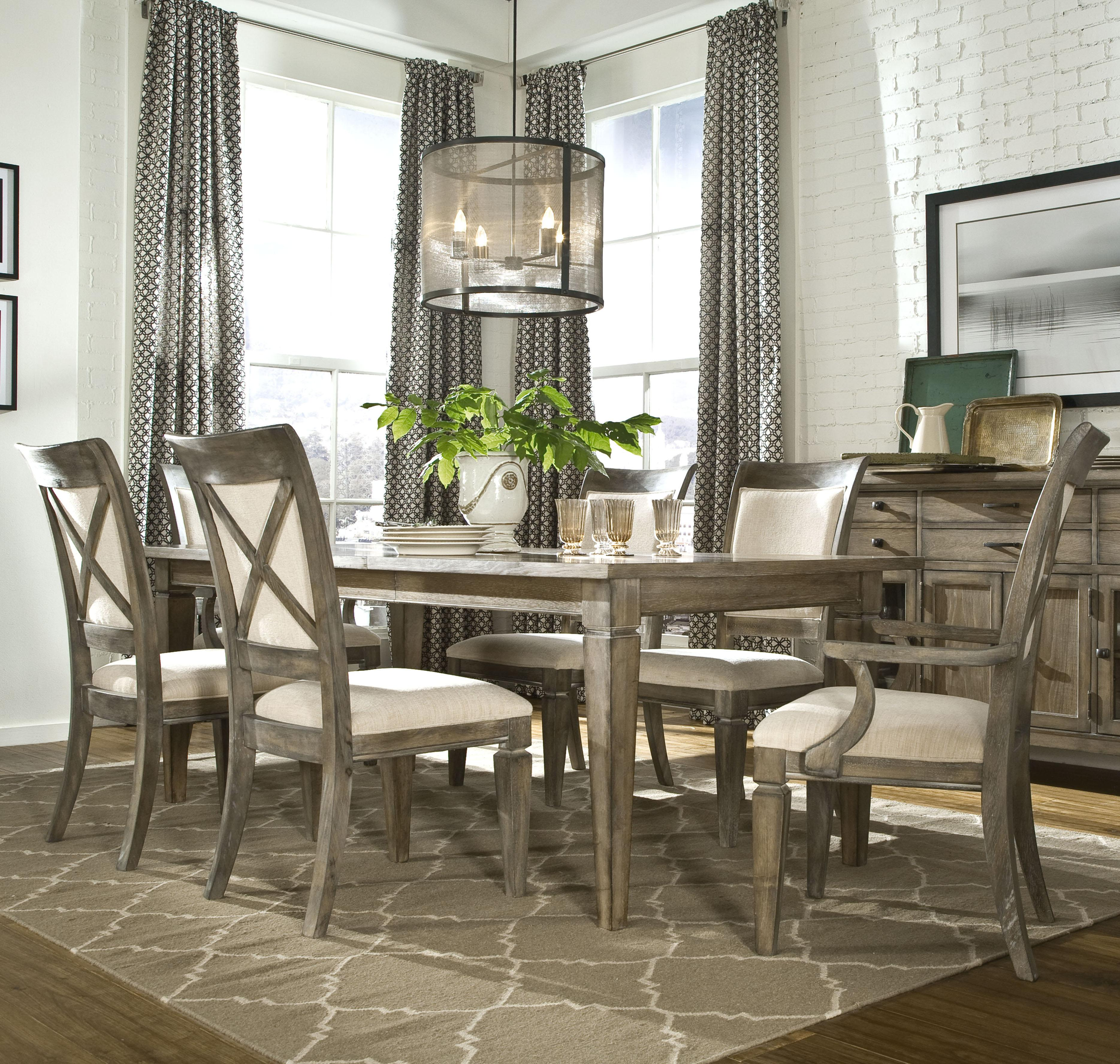 Brownstone Village 7 Piece Dining Set With Leg Table 2 18 Inch Extension Leaves Upholstered Arm Chairs And Side By Legacy Clic