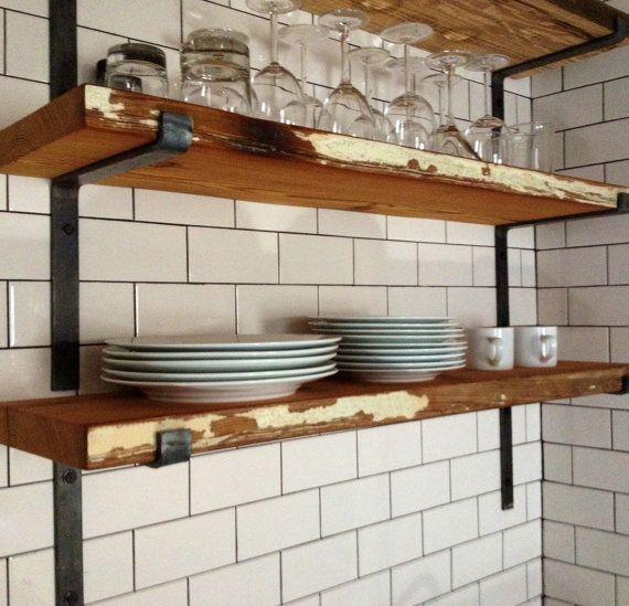 Open Kitchen Shelves With Brackets: Scaffold Plank Shelves, Black Brackets, Subways