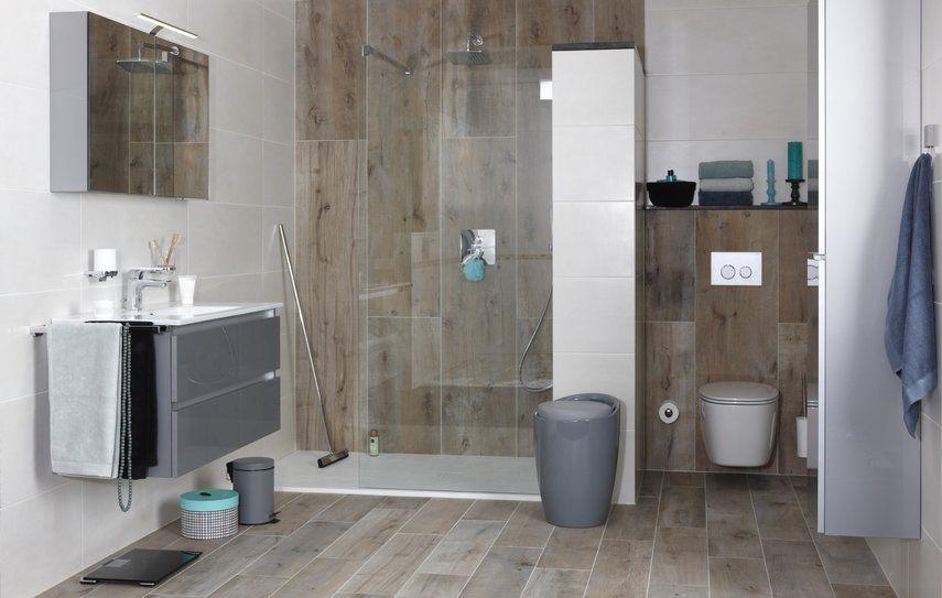 Houtlook badkamer keramisch parket bad mix match