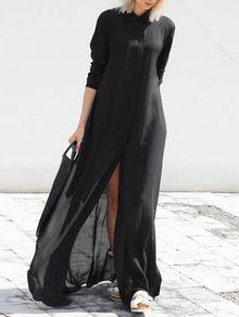 Black Chiffon Maxi Shirt Dress   For mr   Pinterest   Maxi shirt ...