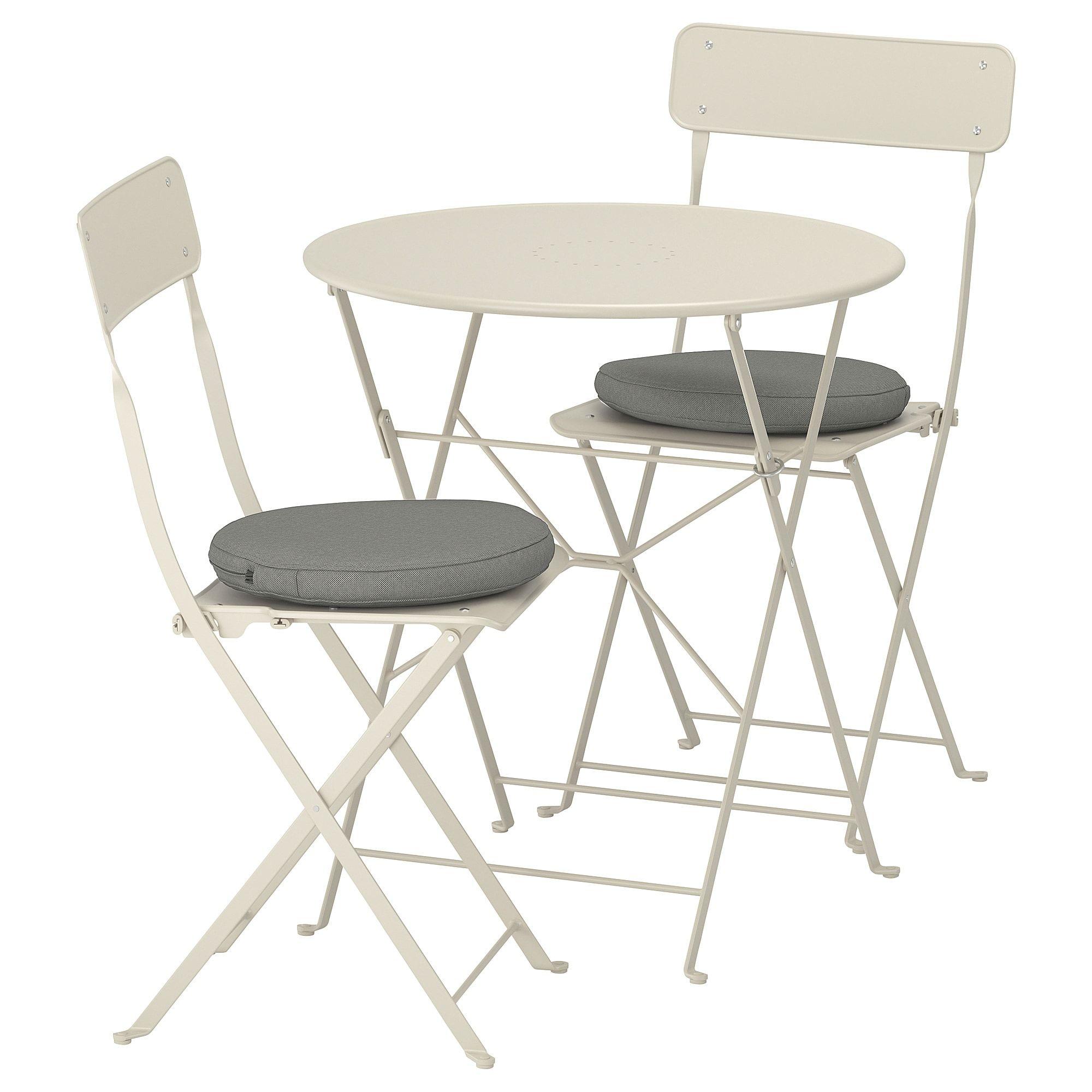 Sedie Pieghevoli Legno Ikea.Saltholmen Tavolo 2 Sedie Pieghevoli Giardino Beige Kuddarna