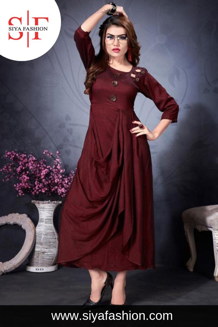 e8bd0f859e Siya #Fashion #Partywear #Designer Maroon #Rayon #Fancy #Kurti. Fabric :-  Rayon Color :- Maroon Pattern :- Plain Occasion :- Festive Wear, Party Wear  Collar ...